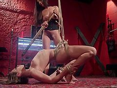 The only way that the mistress can teach this dirty little slave a lesson, is by hitting her tight wet cunt with a huge pole. The slave arches her back quickly, as her soft cunt is beaten hard. What other torture will the mistress have in store for this bound slave?
