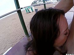 Black haired porn diva Franceska Jaimes with big bottom gives deep blowjob and gets her tight hole drilled at the seaside in public place. She fulfills guys sex fantasies like a pro.