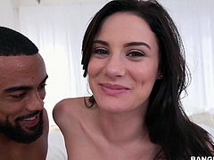 Romance in bed starts with undressing and slutty Kymberlee Anne, is about to try the taste of a big black cock, stuffed down her throat. See this excited lady, with innocent lovely eyes and daring smile, playing dirty.