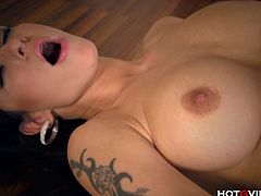 Hot, sexy, euro MILF, Stacy Silver, pleasures her sweet shaved pussy and enormous tits with the Hotgvibe and screams in ecstasy as she fingers herself to orgasm.