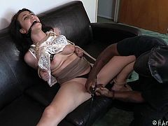 Olivia has no way out, as horny Jack has tied her strongly with inescapable ropes. While being gagged, this pretty lady is about to experience brutal orgasmic pleasures... The ebony dominating guy, brings on a kinky vibrator, to arouse her appetizing cunt. Click to watch the juicy details!