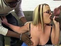 The power-hungry cougar sucks down each huge black cock. Moe, Rico and Charlie take turns slamming into that seasoned pussy and that big booty.