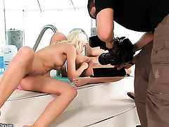 Brunette Sonia Red spreads her legs to fuck her thirsty snatch with toy