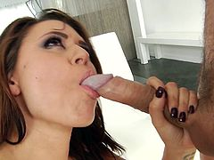 Eva has Mick over, and he is busy pleasuring her every desire. She sits over his face, so he can tongue her juicy cunt. After that, she turns sideways, to get her asshole dicked deeply. He pounds her hard, then pulls out for her to suck and deepthroat him, before bending over and taking it again. Wow!