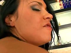 Dark haired busty MILF Mariah Milano gives a close up view of her beautifully trimmed pussy as she gets banged by fat cock. with her green panties on. Hot brunette loves getting hardcored.