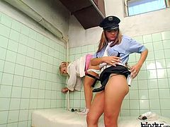 Blonde sub girl strapon fucked by a beautiful lady cop