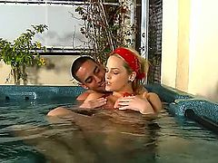 Alexis Texas is a hot blonde that is relaxing with a guy in the pool. The small tits babe looses her bikini in this scene and she gets her pussy pounded.