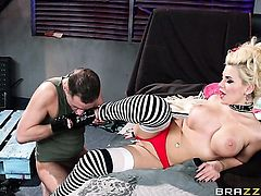 Kris Slater uses his rock solid dick to make blowjob addict Bibi Noel with big breasts happy