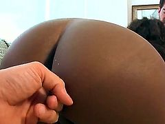 Ebony Gemini with natural titties and hot ass spreads her legs in front of a lucky white guy and gets her wet black pussy eaten out. Then sexy ass bitch rides his ivory cock just like crazy.