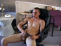 This straight boy is so horny he cant get his clothes off fast enough. On a chair, watching porn, this incredibly sexy boy strokes his thick meat with determination. With occasional moments of euphoria sweeping across his face, Bradley Shaw plays with his low dangling balls coaxing the precum up and out onto his finger and straight into his hot mouth. Then he lunges and jerks himself all over the place, before shooting thick streams of cum out of his cock.