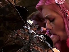 Three dressed up babes Casey Calvert, Claire Robbins and Riley Steele team up and give unforgettable blow job to a lucky man in Sleeping Beauty porn parody. Pink haired lady sucks like a pro!