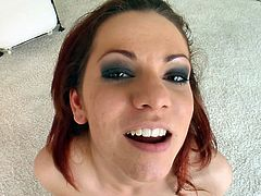 This dirty redhead goes gaga for thick cocks. She is on her knees whacking and sucking, as fast as she can. Will this naughty beauty eat their loads? She is sprayed with thick ropes of semen and it is all sticky in her face. She is truly a cum addict.