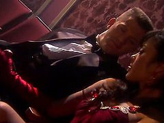 Kaylani Lei is filmed with a guy. She is giving him a blow job. She is acting like a hooker in this video. She does not need to do much acting to make it believable.