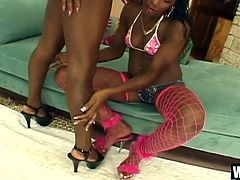 Guys, if you are inclined more toward dark meat than white, we proudly present Gentilly and Barbiee, two Nubian queens that love the taste of brown sugar just as much, as they like stiff black beefsteak. They enjoy each other's small breasts and pussy, even bringing a small vibrator to the party for two.