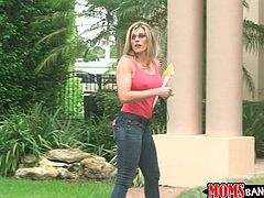 Cory came home in the middle of the day and found her stepdaughter, sucking on her boyfriends massive cock. She was not pleased these teens were having sex. Even worse they were doing it all wrong. The hot blonde milf will show the sexy teen how to properly suck a throbbing penis.