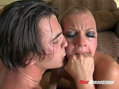 Bitch with a shaved head likes being humiliated and fucked hardcore