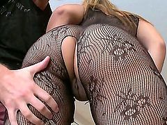 Brunette Latina is in her stockings in this video. She is shaking her huge ass. We get to see her shaved pussy as she is getting spanked in this video.