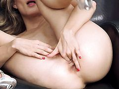 Cayenne Klein with tiny tities and clean bush howls as she fucks herself with toy