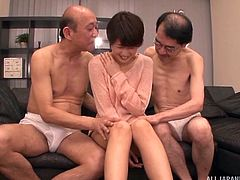 Naughty Asian babe in an face fucked by mature cocks in pov