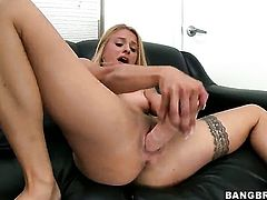 Blonde Cameron Canada with small boobs and hairless snatch masturbating with big desire