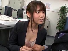 Secretary in a short skirt and sexy panties is a cocksucker