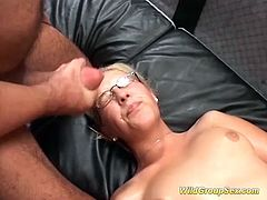 two lesbinan horny german chicks in a wild bukkake groupsex fuck party orgy