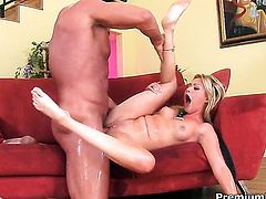 Sindee Jennings has fire in her eyes as she gets jizz covered after sex with horny man