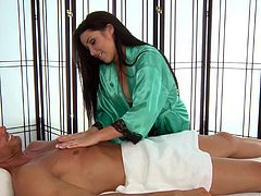 She loves to please and gives him a full release massage