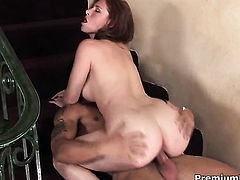 Bodacious sex kitten Ginger Blaze is one hot cock rider that loves it so much