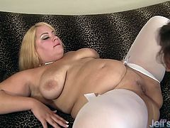Beautiful blonde plumper sucks a long dick like a lollypop. The she takes it in her pussy and get fucked very hard. She gets facialled in the end.