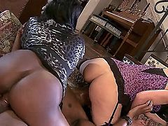Jada Fire and Roxanne Hall are a couple of hot cougars. They are with a black guy and they are opening their tight pussies up for the man. See them fucking. Threesome