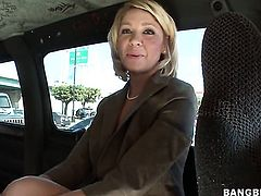 Busty milf fucks in the van