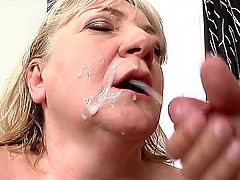 Granny has a hairy pussy. She gets a much younger guy to lick it. Then she turns around and shakes her fat old ass. She gets then cumshot on her back.