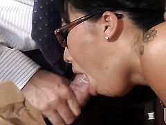 Asa Akira shows off her hot body as she gets her mouth fucked by mans stiff love stick