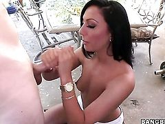 Tiffany Brookes is giving a blow job