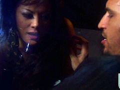 Kaylani Lei milks meat stick with her hot mouth