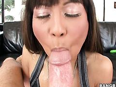 Brunette oriental milks cum loaded boner of her man