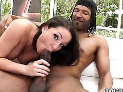 Brunette Charity Bangs wants mans love torpedo to fuck her mouth