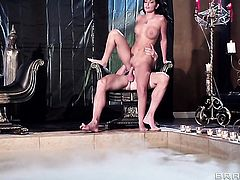 Johnny Sins uses his stiff pole to bring blowjob addict Amber Cox to the height of pleasure