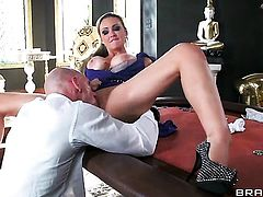 Extremely sexy slut Abbey Brooks with giant jugs having sensual sex with horny dude Johnny Sins
