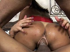 Bela told her husband, she wanted a threesome with him and another guy, but he wouldn't go for it. They compromised and found Jo, a ladyboy with a big dick. She rides the tranny in reverse, while sucking her husband's cock. She doesn't want her asshole neglected, so her hubby parks his prick in there.