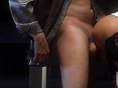 Kaylani Lei gets her mouth stretched by guys rock solid rod