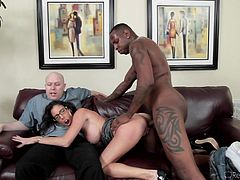 Her husband's tiny white cock was not enough for Dava anymore. Now she needs to have a big black cock in her tight cunt hole. Her man has to sit on the couch and watch, as the beauty is rammed by thick black bull cock.