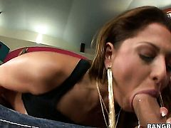Brunette sweetie Alison Star with big hooters and hairless twat wants this hardcore sex session to last forever
