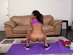 Sweet ebony girl Nicole Bexley with big ass and juicy natural titties loves doing yoga almost naked. Flexible girl shows her private parts on fitness ball and then gets her lovely pussy eaten out.