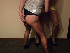 Pantyhose fun fuck my gold mini skirt