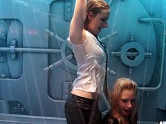 I invited these hot babes over to my new sex room. It's a vault where girls can get naughty and sprayed down. The hot lesbians dance, as the water pours over them. It's like a wet t-shirt contest in overdrive!