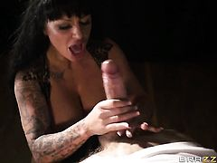 Danny D makes his erect meat pole disappear in dangerously seductive Kerry Louises mouth