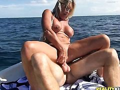 Blonde with juicy jugs and hairless snatch lets man bang her sweet mouth