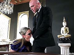 Johnny Sins whips out his pole to fuck Abbey Brooks with juicy boobs